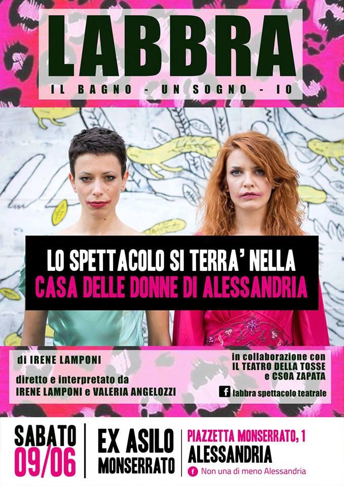 """9.6.2018 – Spettacolo teatrale """"Labbra"""" alla Casa delle Donne"""