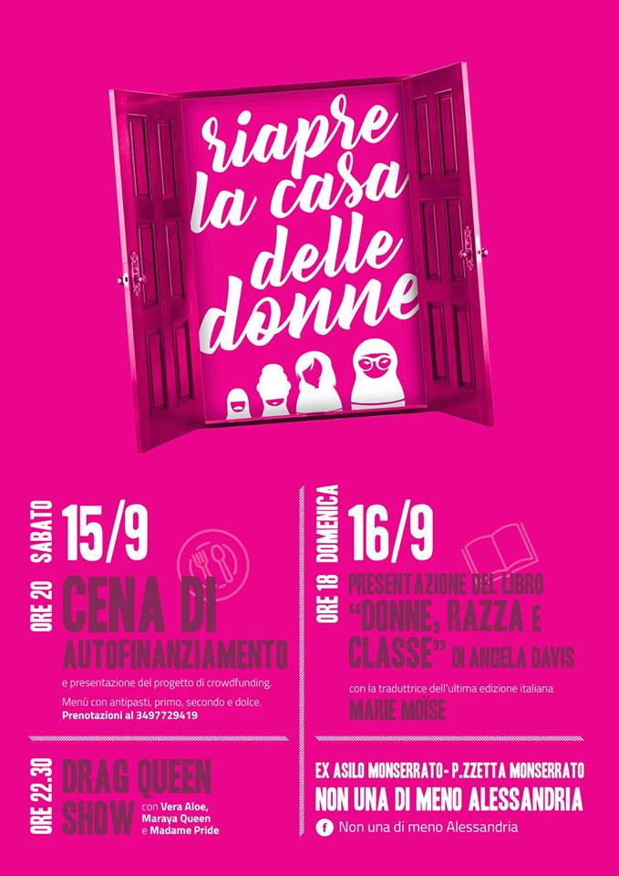 15.9.2018 – Riapre la Casa delle Donne…due giorni di femminismo in città!