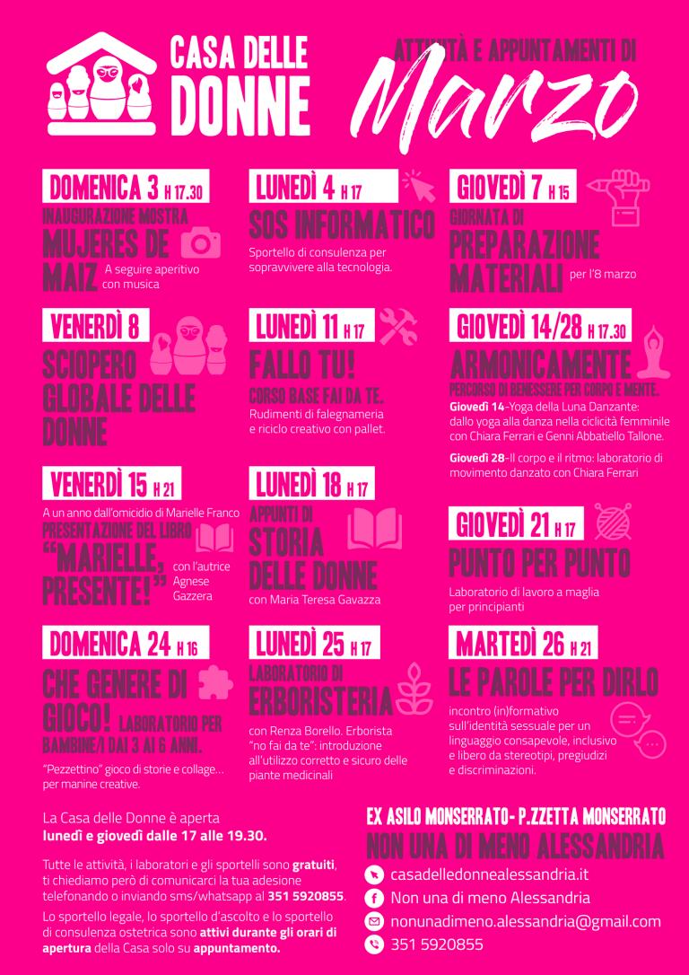 Attività e appuntamenti di marzo alla Casa delle Donne