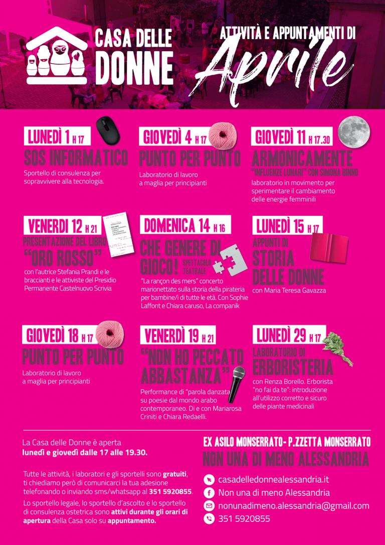 Attività e appuntamenti di aprile alla Casa delle Donne