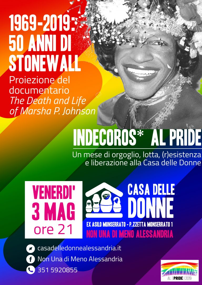 "3.5.2019 – Proiezione del documentario ""The Death and Life of Marsha P. Johnson"" a 50 anni da Stonewall"