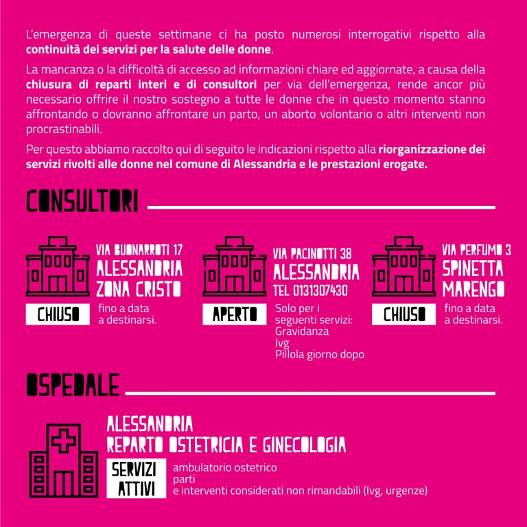 Indicazioni sui servizi per la salute delle donne ad Alessandria durante l'emergenza Covid 19